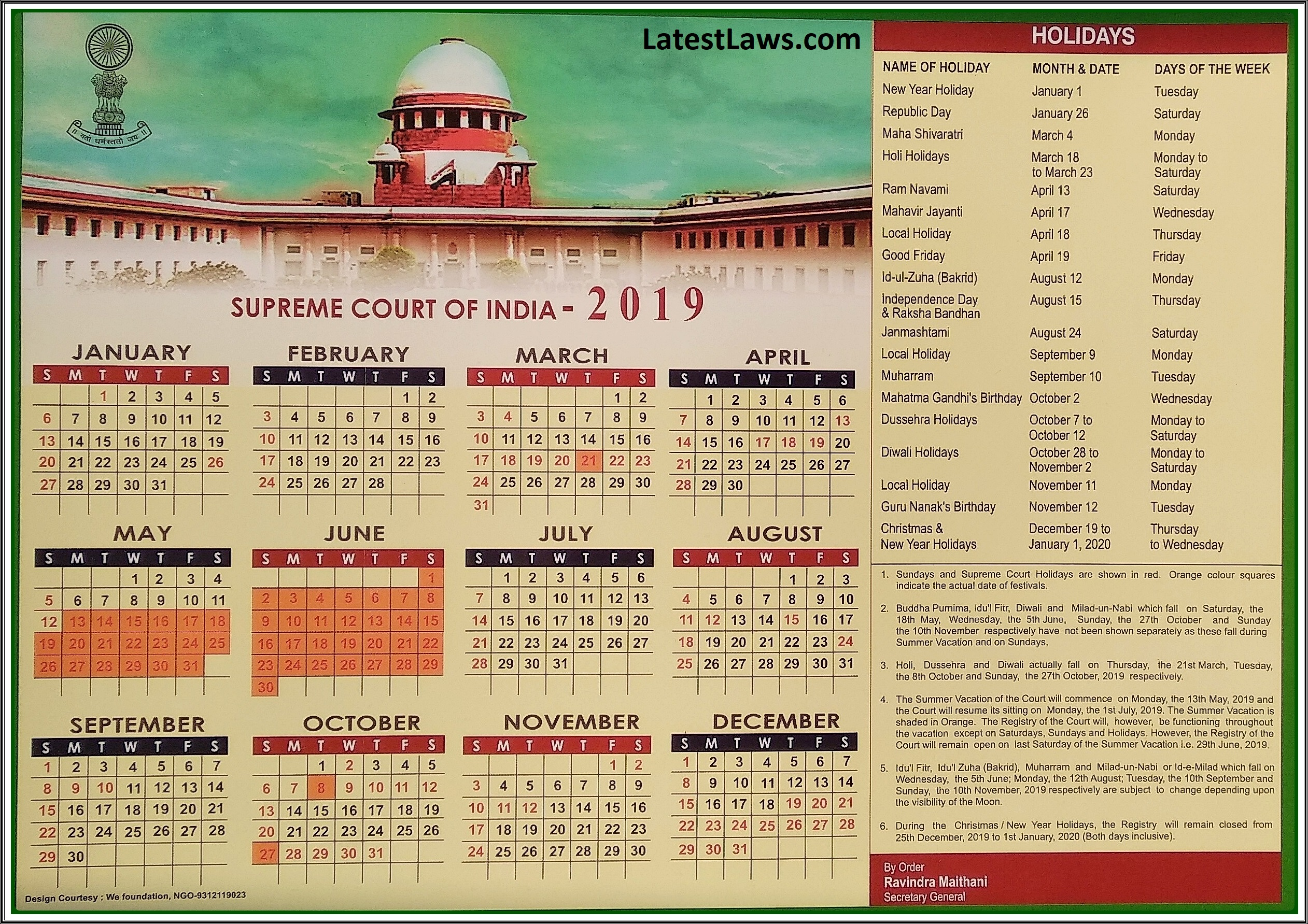 Supreme Court Calendar 2020 Supreme Court of India Calendar 2019 | Latest laws