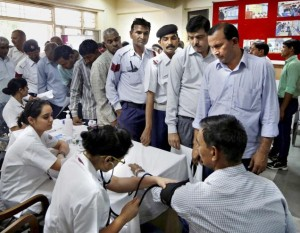 Traffic Cops undergoing Medical Checkup
