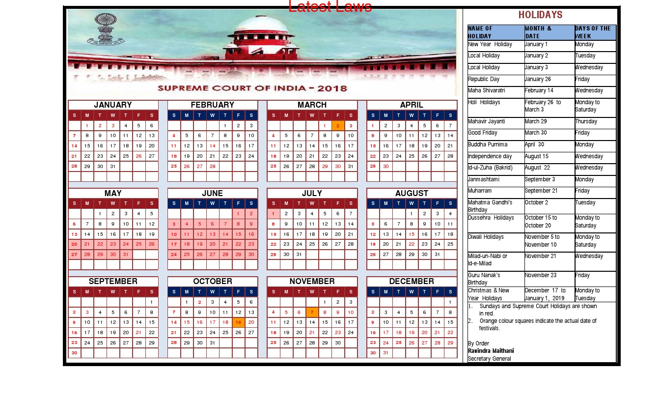 Supreme Court Calendar, 2018